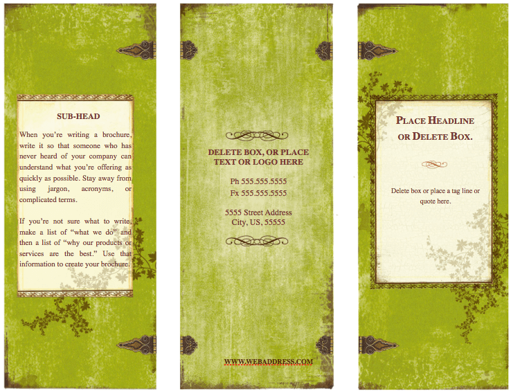 Weathered tri fold brochure template for pages free for Pages brochure template
