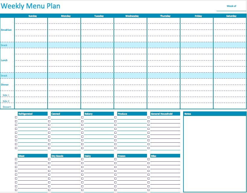 Numbers Weekly Menu Planner Template