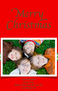Christmas Card Template Red With Stripes