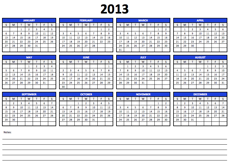 Free 2013 Yearly Calendar Template