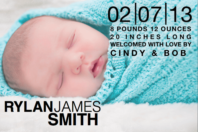 Birth announcement template with block text free iwork for Free online birth announcements templates