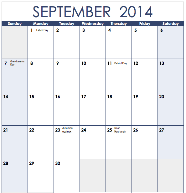 2013 Vertical Monthly Calendar Template