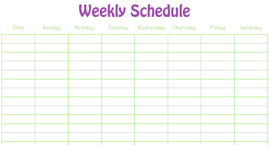 Weekly Schedule Numbers Template  Monday To Sunday Schedule Template