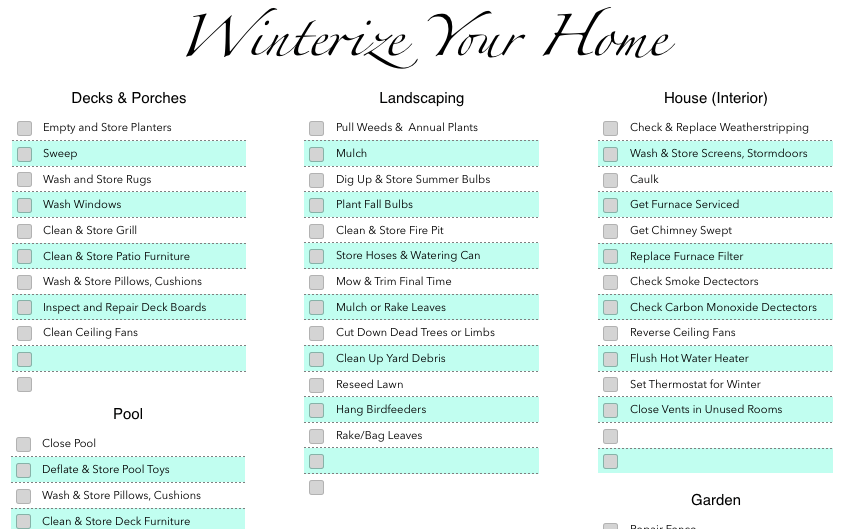 Numbers Winterization Checklist