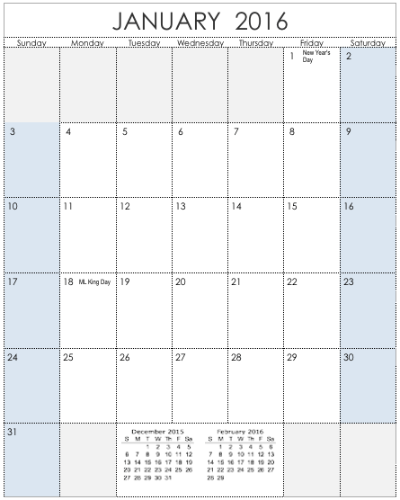 2016 Vertical Calendar Template for Numbers – Numbers Templates Free