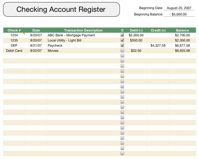 checkbook registers free