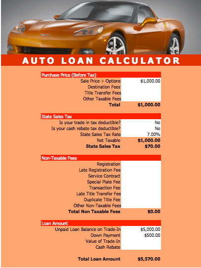 Auto Loan Calculator Template for Numbers | Free iWork Templates