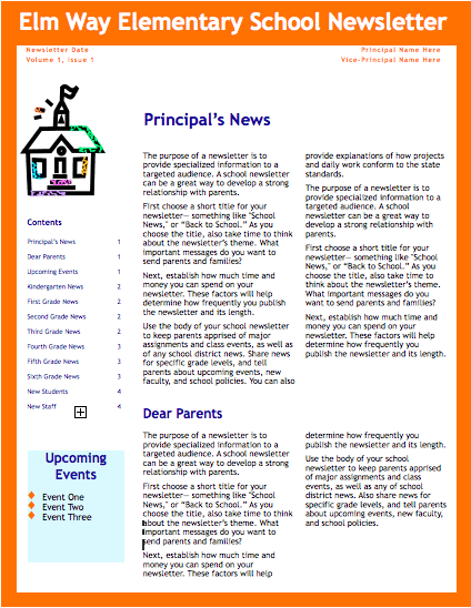 orange school newsletter template for pages free iwork templates