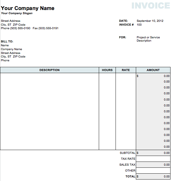 Classic Invoice Template For Numbers Free IWork Templates - Invoice template numbers