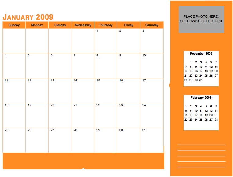 Pages 08 Modern Solid Monthly Calendar Free Iwork Templates