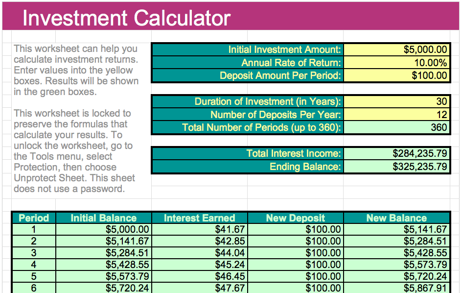 investment calculator template for numbers