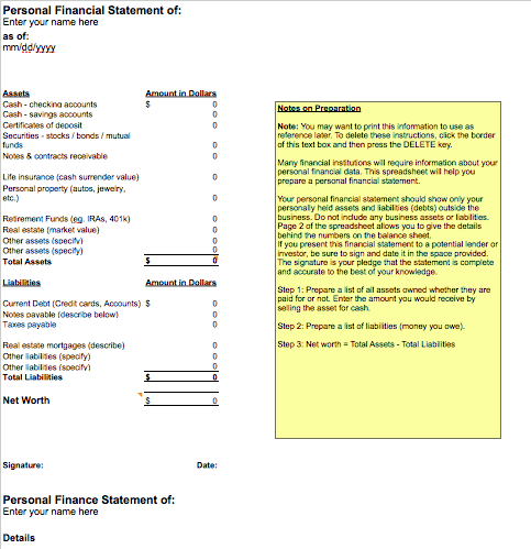 Personal Financial Statement Template
