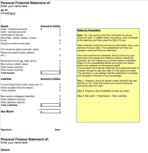 personal financial statement spreadsheet