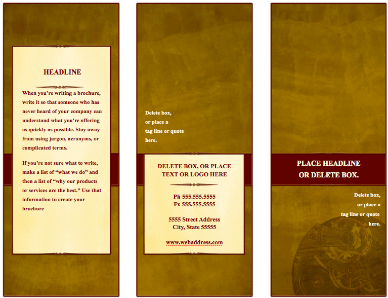 Traditional Tri Fold Brochure Template For Pages