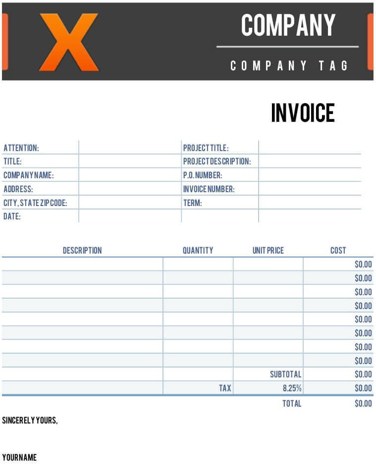 numbers invoice template  X Invoice Template for Numbers | Free iWork Templates