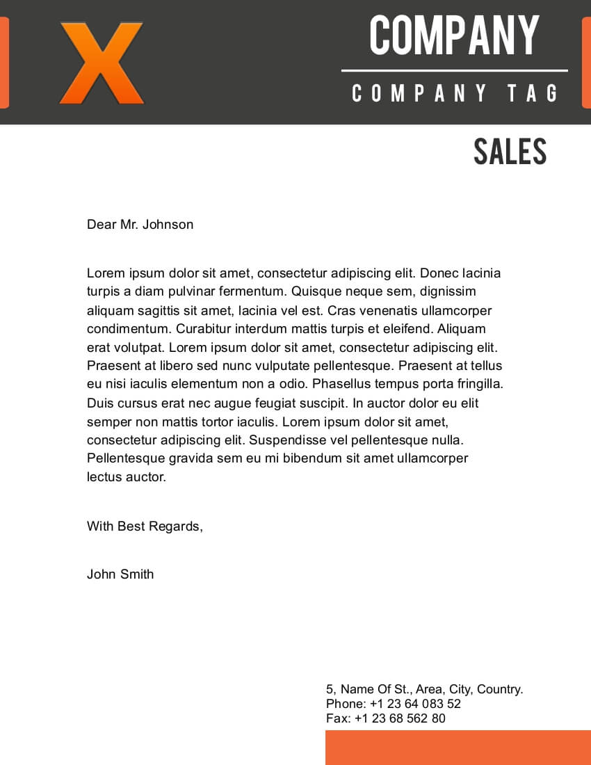 X Letterhead Template For Pages  Company Letterhead Samples
