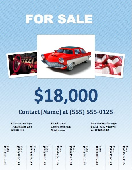 Car For Sale Flyer Template For Pages  Free Iwork Templates