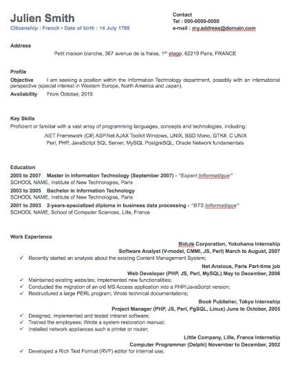 one column professional resume template free iwork templates