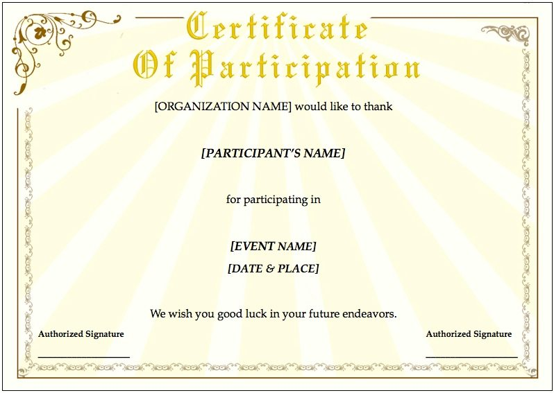 Training Certificate Template  Certificate Of Training Template