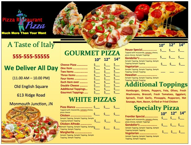 pizza menu template Pages Pizzeria Menu Template | Free iWork Templates