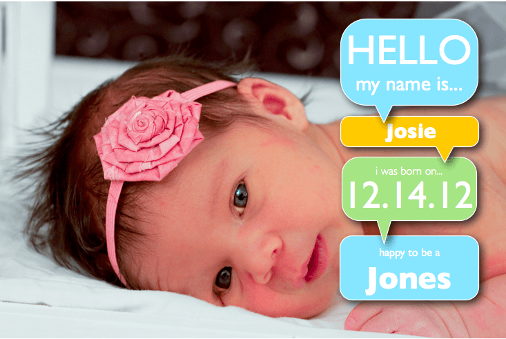Girl Birth Announcement Template with Word Bubbles