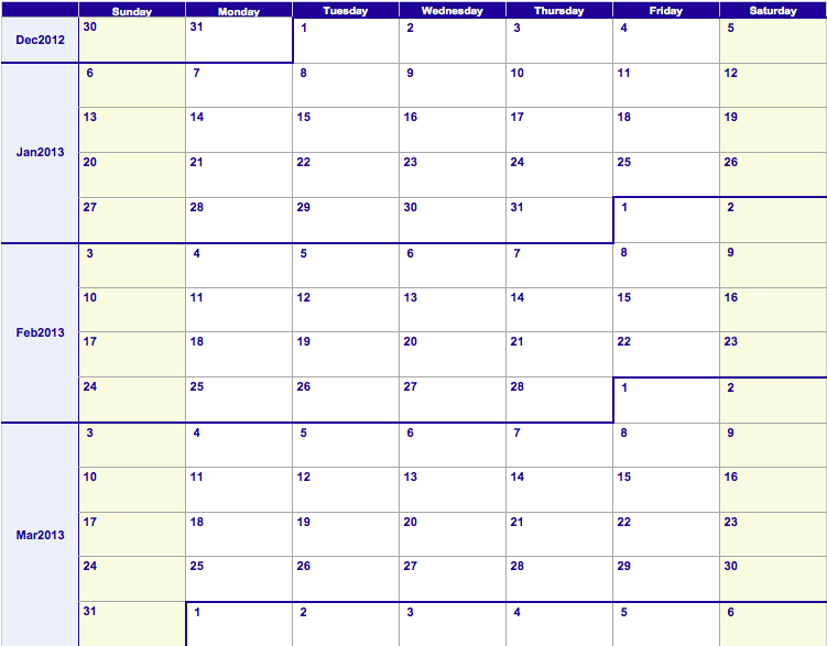 Numbers 2013 Weekly Calendar Template