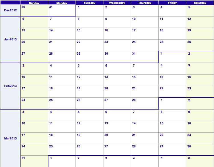 Numbers 2013 Weekly Calendar Template | Free iWork Templates