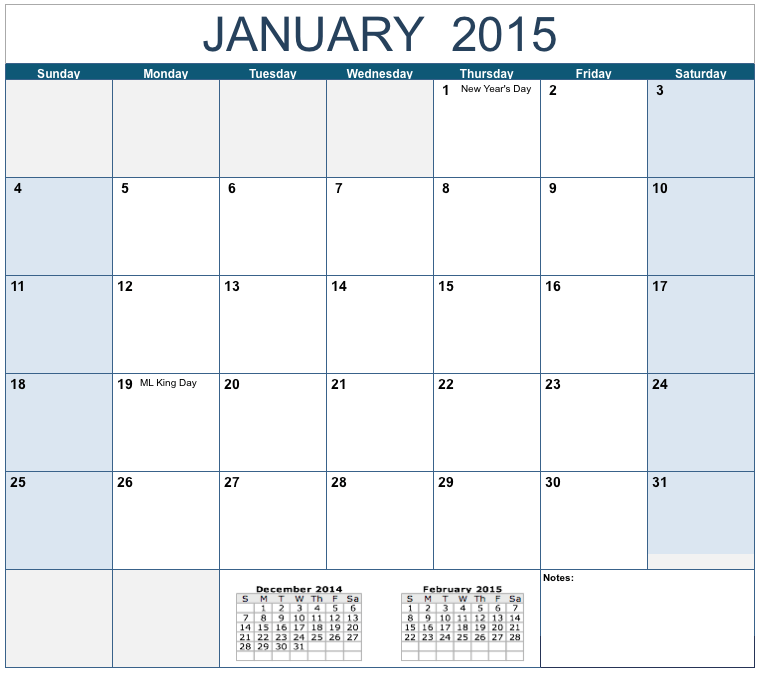 Horizontal 2015 Monthly Calendar Template for Numbers