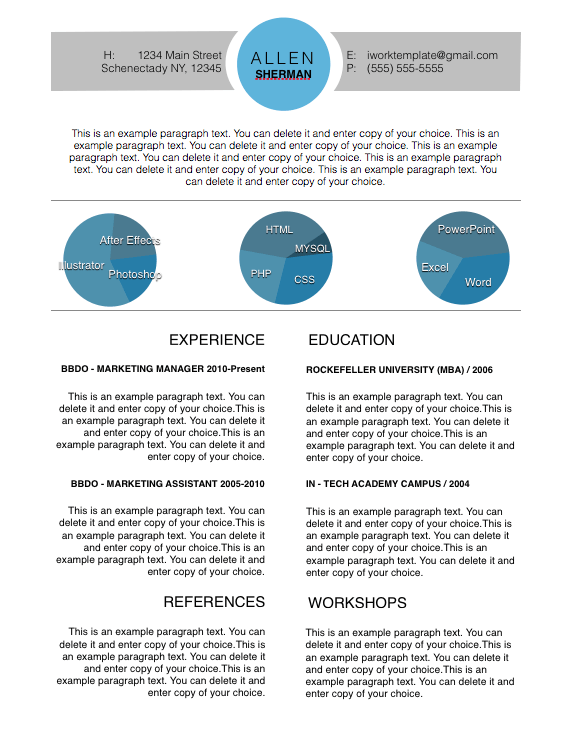 Modern Circle Resume Template  Apple Pages Resume Template