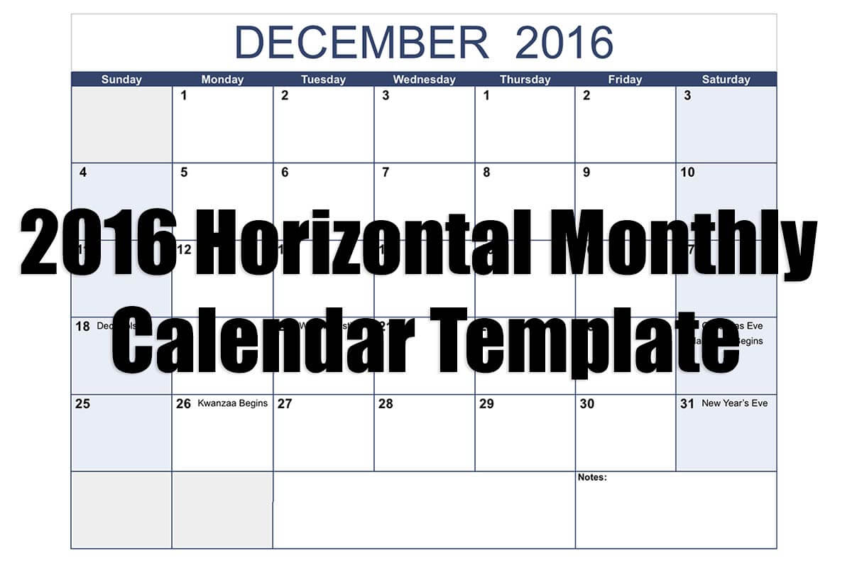 Numbers 2016 Horizontal Monthly Calendar Template Free Iwork Templates