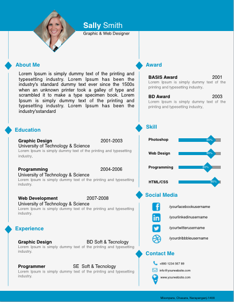 Diamond Image Resume Template for Pages