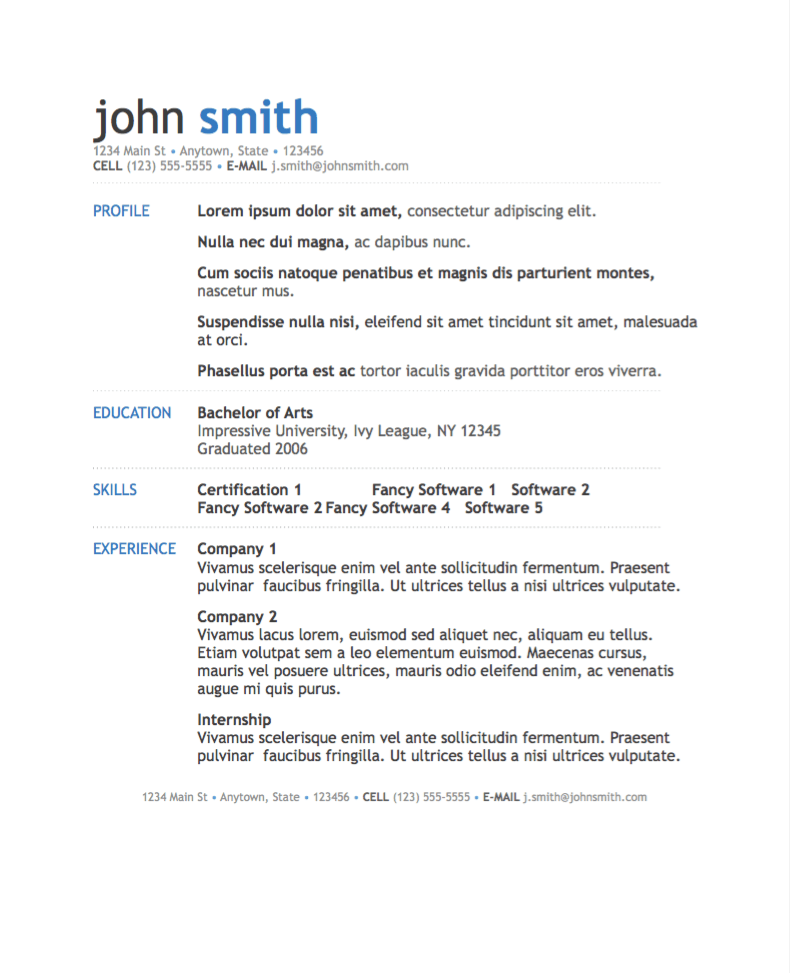 simple modern resume template for pages