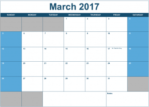 2017 Horizontal Monthly Calendar Template