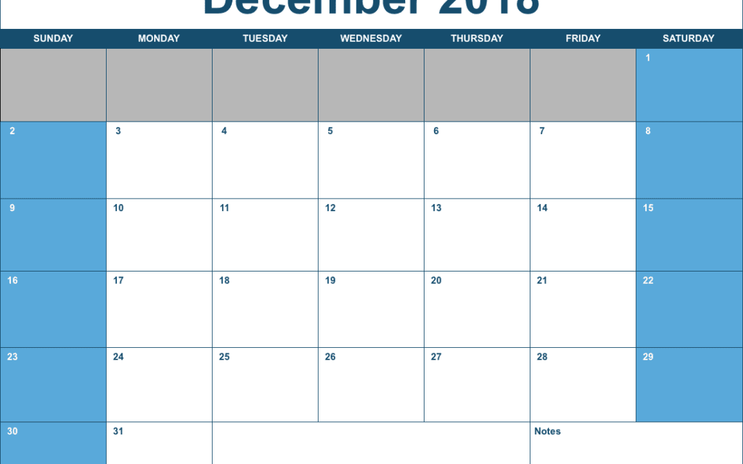 Numbers 2018 Horizontal Monthly Calendar Template