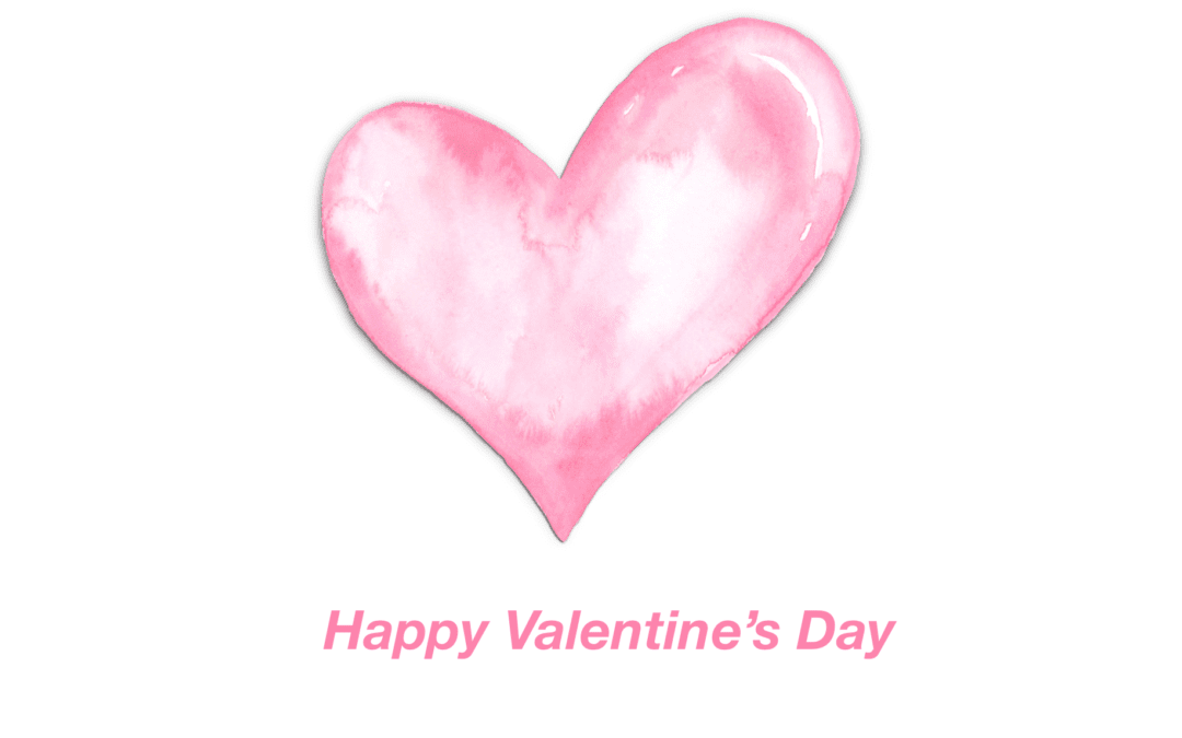 Fuchsia Watercolor Heart Valentine's Day Card Template