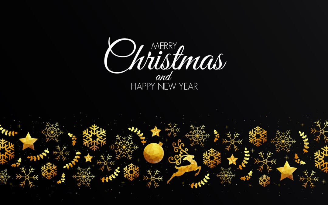 Christmas Card Template.Low Poly Golden Christmas Decoration Christmas Card Template