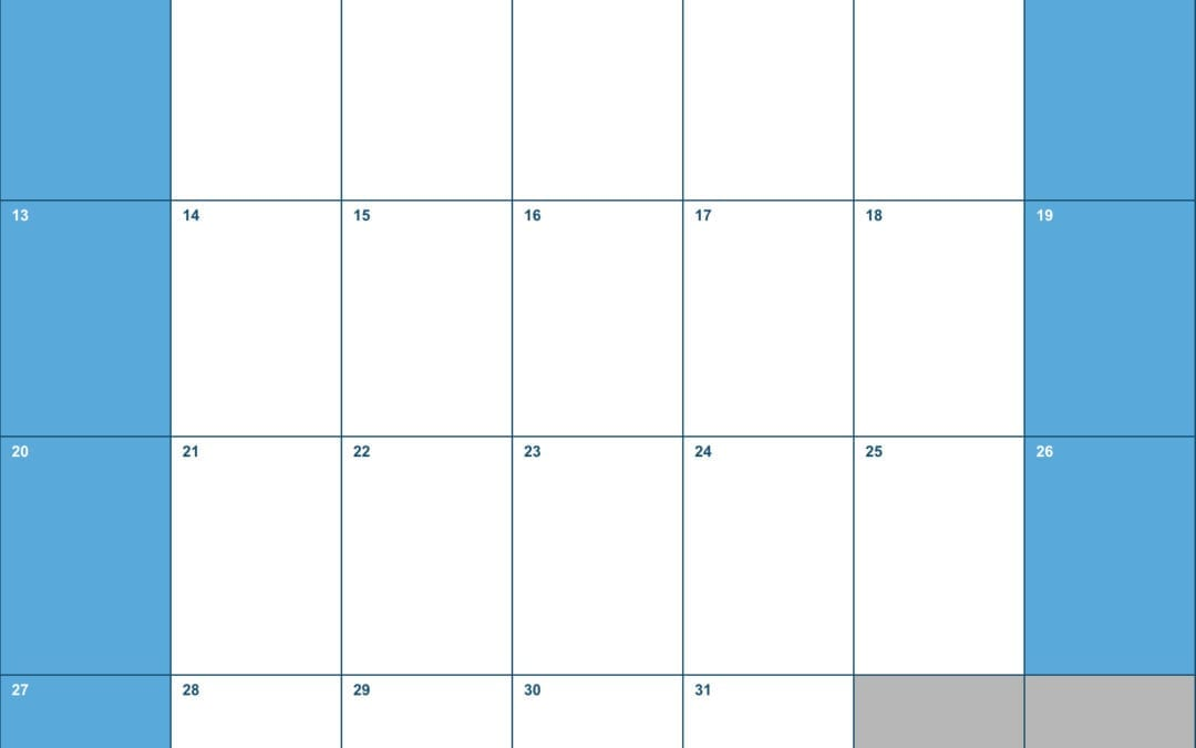 2019 Vertical Monthly Calendar Template for Numbers